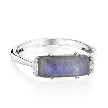 Solitaire Emerald Cut Ring with Labradorite