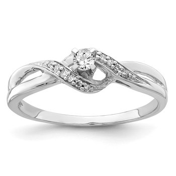 Sterling Silver Rhodium Diam. Promise Ring