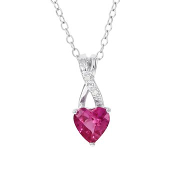 Sterling Silver Created Pink Sapphire and Diamond Accent Pendant Necklace