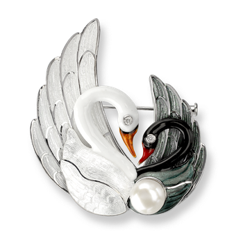 Sterling Silver Swans Brooch-White and Black. Diamonds, Pearl.