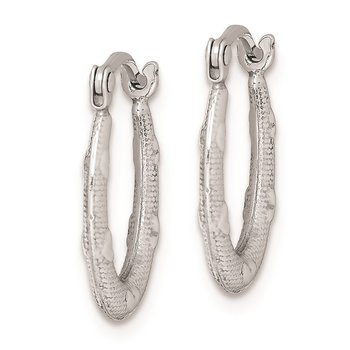 Sterling Silver Rhodium-plated Heart Textured Hollow Hoop Earrings