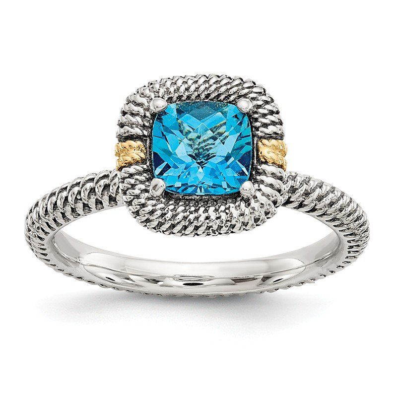 Shey Couture Sterling Silver w/14ky Lt Swiss Blue Topaz Cushion Ring