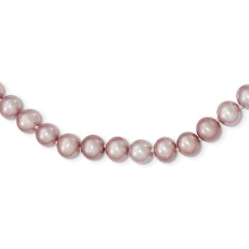 Sterling Silver Rhodium-plated 7-8mm Purple FWC Pearl Necklace