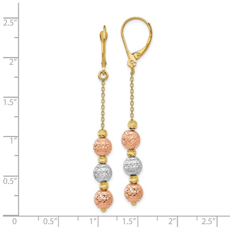 Leslie's Leslie's 14K Tri Colored D/C Beaded Leverback Earrings
