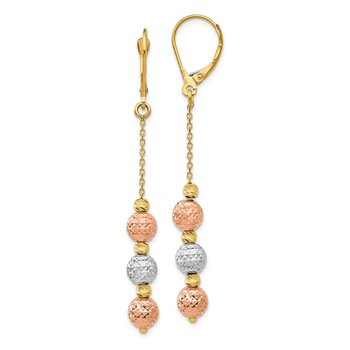 Leslie's 14k Tri Colored Diamond-cut Beaded Leverback Earrings