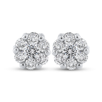 Essentials 10K White Gold 1/5 ct White Round Diamond Halo Stud Earrings