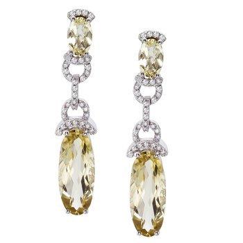 14k White Gold  Oval Dangle Lemon Quartz And Diamond Earrings
