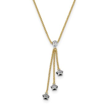 14k Two-tone Diamond-cut 3-Stars w/2in Ext.Necklace