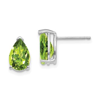 14k White Gold 9x6mm Pear Peridot Earrings