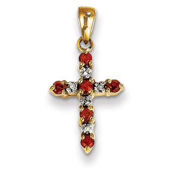 14k Garnet and Diamond Cross Pendant