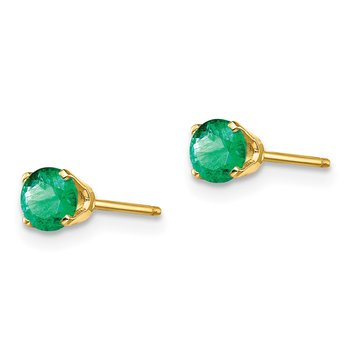 14k 4mm May/Emerald Post Earrings