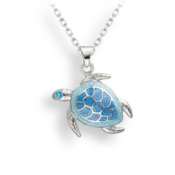 Blue Turtle Necklace.Sterling Silver