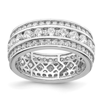 Sterling Silver Rhodium-plated CZ 3-row Eternity Ring