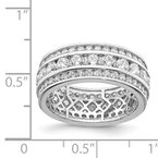 Quality Gold Sterling Silver Rhodium-plated CZ 3-row Eternity Ring
