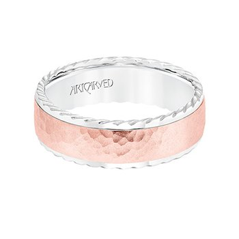 14K Rose+White Gold Hammered Comfort Fit Wedding Band