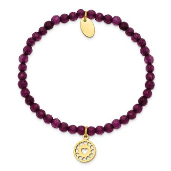 Stainless Steel Polished Yellow IP Heart Dark Purple Jade Stretch Bracelet