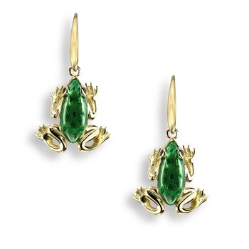 Green Frog Wire Earrings.18K