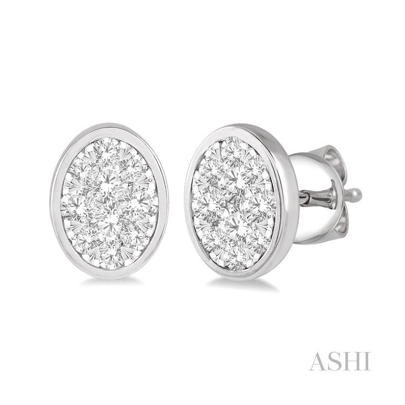 ASHI oval shape lovebright essential diamond earrings
