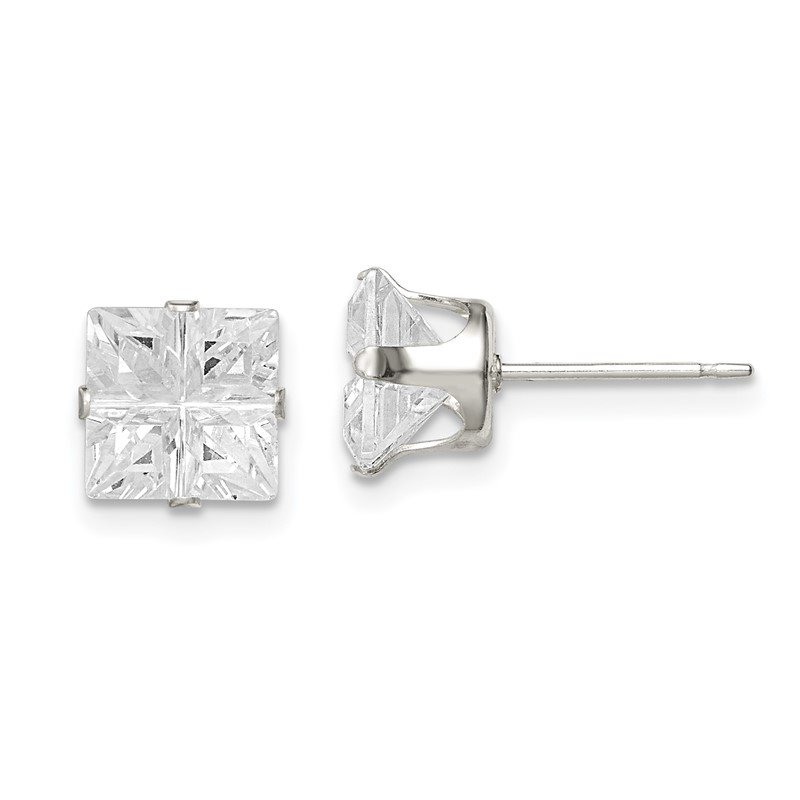 Quality Gold Sterling Silver 7mm Square Snap Set Cross-cut CZ Stud Earrings