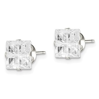 Sterling Silver 7mm Square Snap Set Cross-cut CZ Stud Earrings