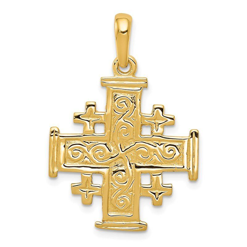 Quality Gold 14k Jerusalem Cross Pendant