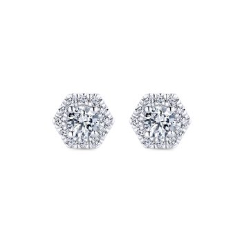 14k White Gold Hexagonal Diamond Halo Stud Earrings