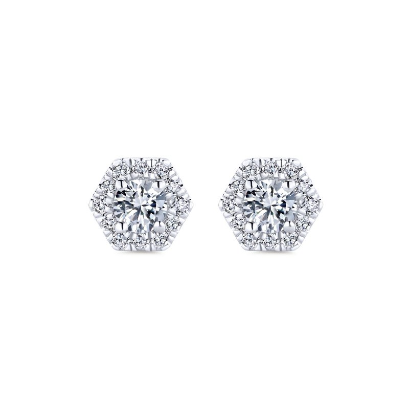 Gabriel Fashion 14k White Gold Hexagonal Diamond Halo Stud Earrings
