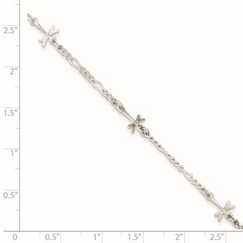 Sterling Silver Polished Dragonfly 8in Plus 1in ext. Anklet