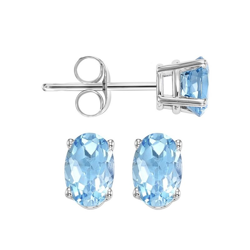 Gems One Oval Prong Set Blue Topaz Studs in 14K White Gold