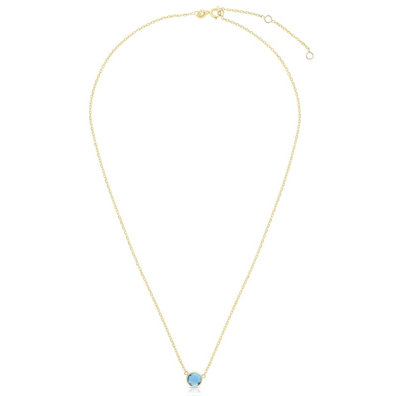 Royal Chain 14K Gold & Blue Topaz Solitaire Necklace