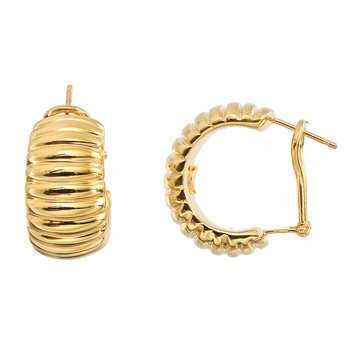 18KT GOLD LARGE RIBBED HOOPS