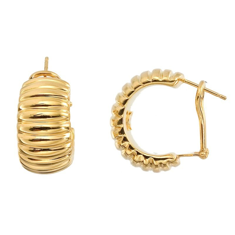 Roberto Coin 18Kt Gold Large Ribbed Hoops