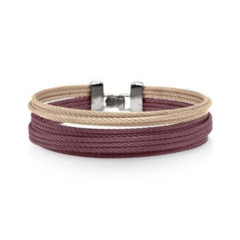 Carnation & Burgundy Cable Double Stack Bracelet