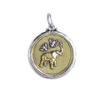 Bee Saved Elephant Pendant - Brass & Sterling Silver