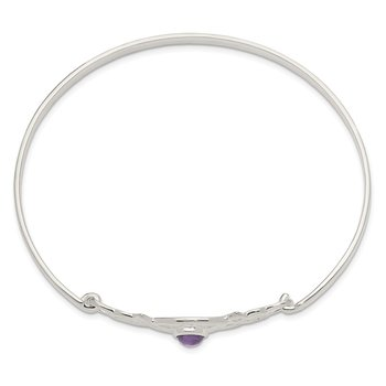 Sterling Silver Amethyst Celtic Knot Bangle Bracelet
