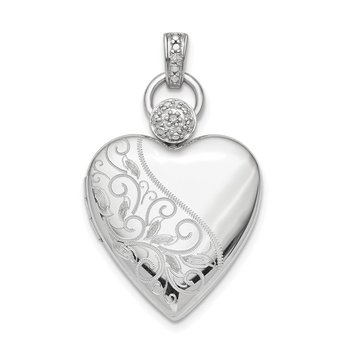 Sterling Silver Rhodium-plate 21mm Heart Dia. Accent D/C Satin Locket
