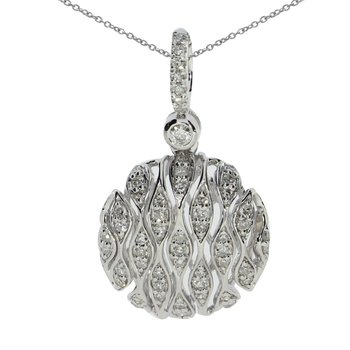14K White Gold Puffed Round Diamond Pendant