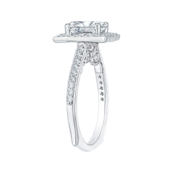 18K White Gold Emerald Diamond Halo Engagement Ring (Semi-Mount)