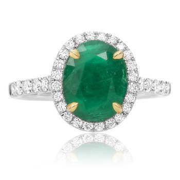 Prong Set Emerald Halo Ring