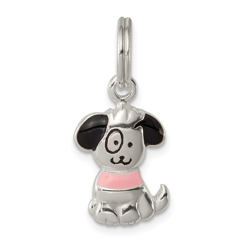 Quality Gold Sterling Silver Enameled Puppy Charm