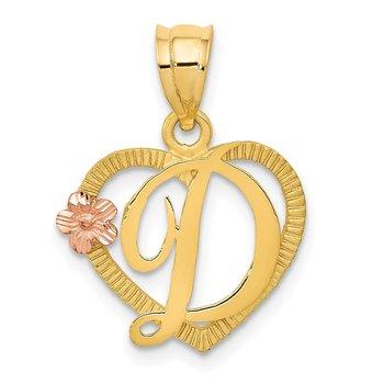 14k Two-Tone Heart Letter D Initial Pendant