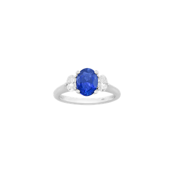 Sapphire & Diamond Three-Stone Ring