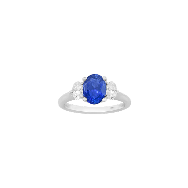 Spark Creations Sapphire & Diamond Three-Stone Ring