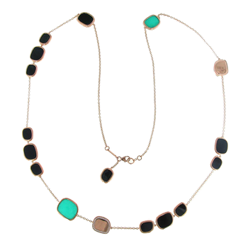 18KT GOLD BLACK JADE, DIAMONDS AND GREEN AGATE STATION NECKLACE