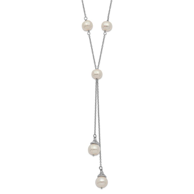 Quality Gold Sterling Silver Rhod-plat White FWC Pearl 9 station 2 drop 2in ext Necklace