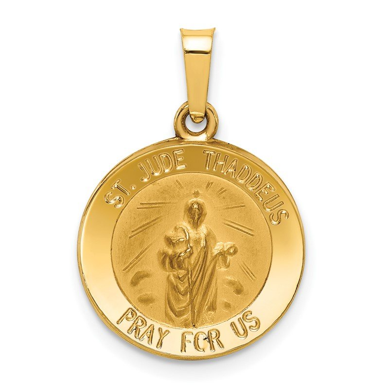 Quality Gold 14k Polished and Satin St Jude Thaddeus Medal Hollow Pendant