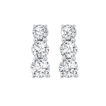 3 Row Channel Set Diamond Earrings in Sterling Silver (1/3 ct. tw.)