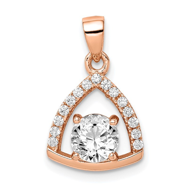 Quality Gold Sterling Silver Rose-tone Triangle CZ Pendant