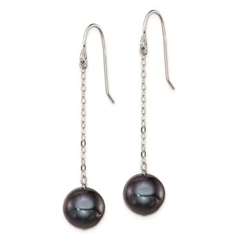 Sterling Silver Rhodium-plated 9-10mm FWC Black Pearl Dangle Earrings