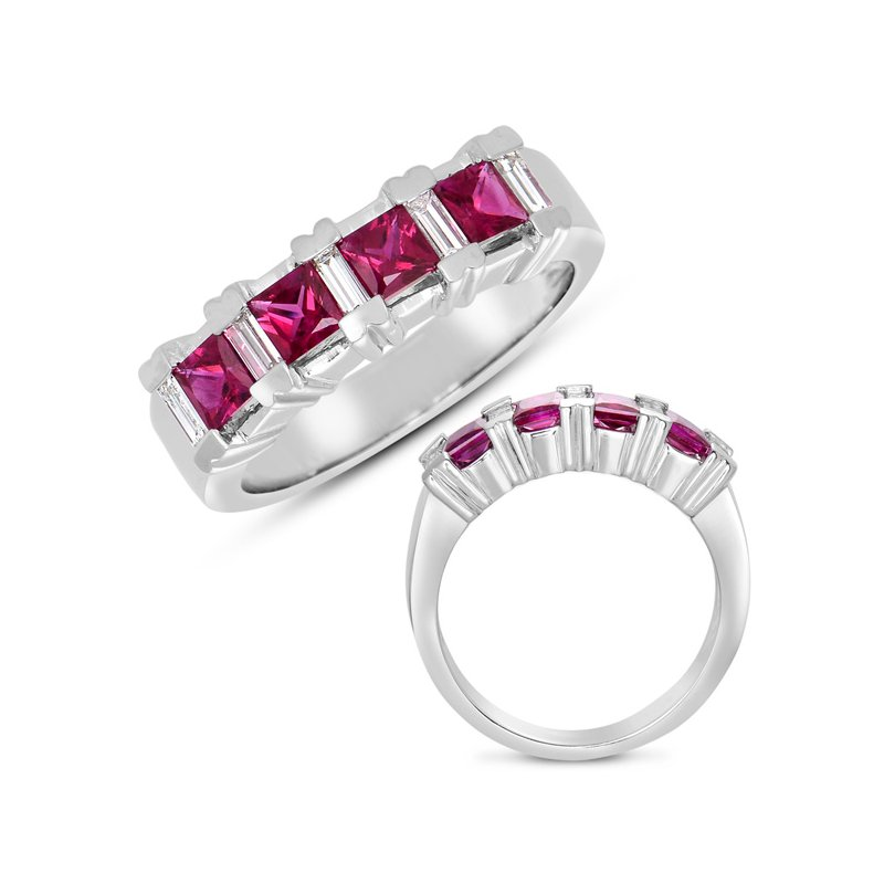S. Kashi  & Sons Ruby & Dia Ring White Gold